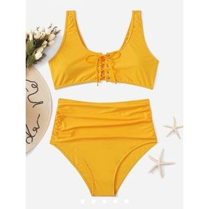 Yellow Scoop Neck Lace Up High Waist Bikini Set 1X